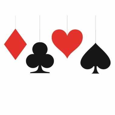 12x stuks kaartspel/casino speelkaarten decoratie hangers