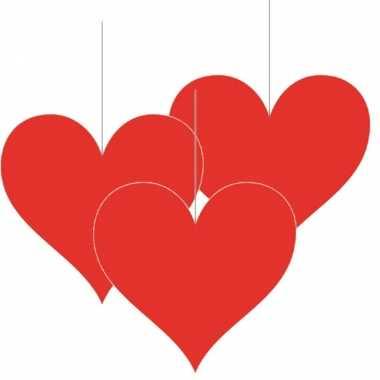 6x stuks hangversiering harten/hartje 17 cm