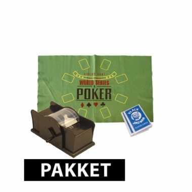 Poker speelmat, kaarten en schudmachine